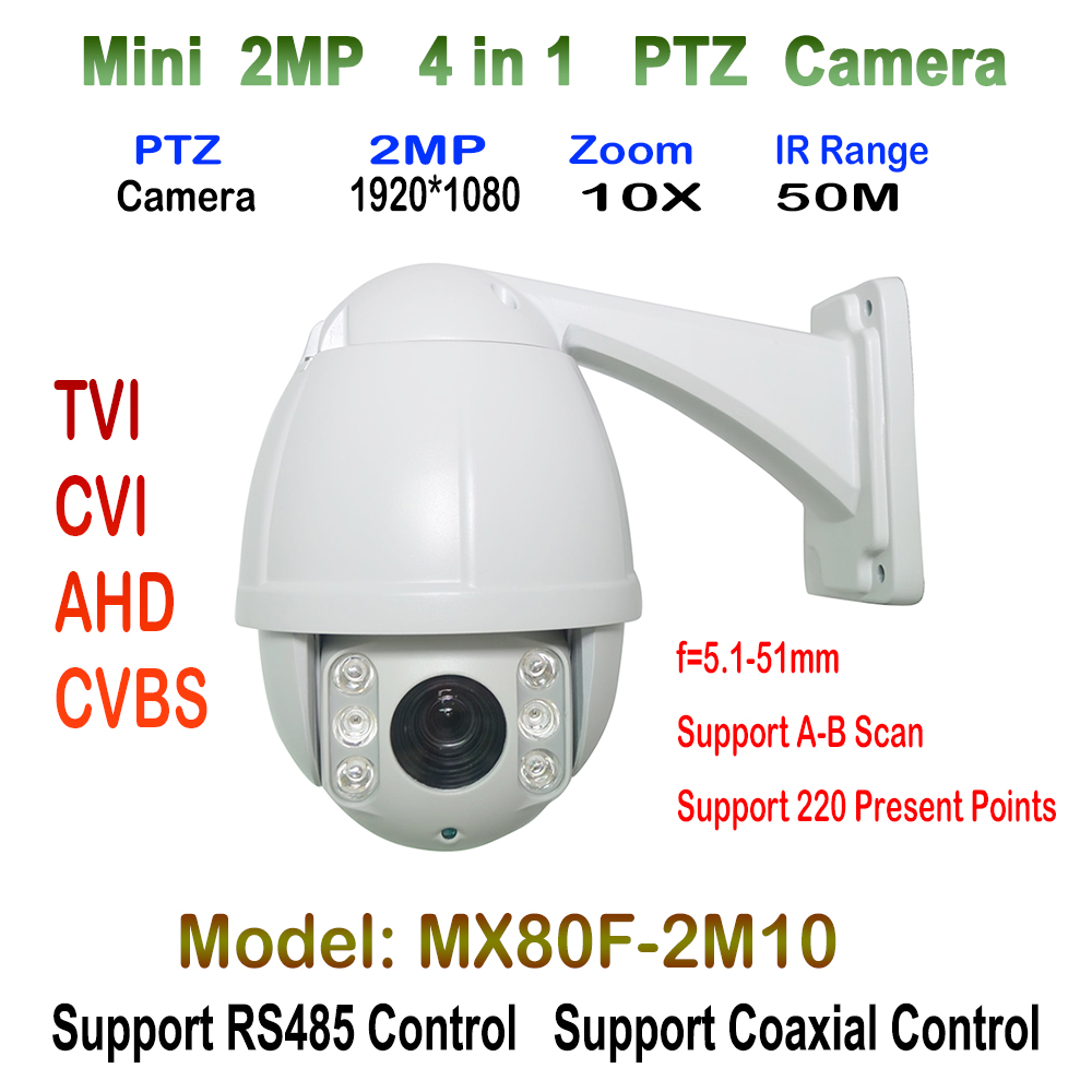 2.0MP Mini High Speed Dome Camera Security Surveillance 10 x Zoom AHD TVI CVI Analog PTZ Camera HD 1080P IR CCTV 5.1-51mm 4 IN 1 33x zoom 4 in 1 cvi tvi ahd ptz camera 1080p cctv camera ip66 waterproof long range ir 200m security speed dome camera with osd