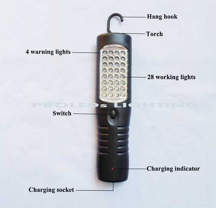 Cordless 28+4+3 LED warning light LED work lamp flash light torch rechargeable battery dual charger car roadside garage used