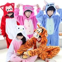 Nouveau Bébé Garçons Filles Enfants de pyjamas D'hiver À Capuchon Enfants Flanelle animal Point panda tigre de bande dessinée Pyjamas pour Enfants pyjamas