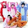 Novo Bebê Meninos Meninas pijamas das Crianças Com Capuz Crianças Inverno Flanela Ponto animal panda tigre dos desenhos animados Pijamas para Crianças pijamas