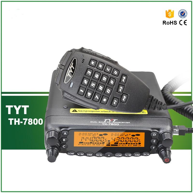 La mejor oferta DHL / EMS Envío rápido TYT TH-7800 VHF UHF Doble banda Transductor FM móvil dúplex completo con cable / software de programación