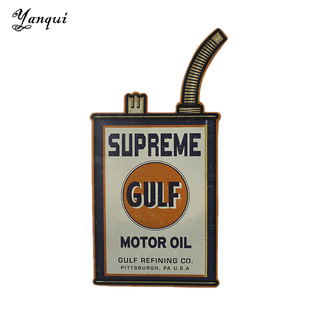 Supreme Gulf Motor Oil Metal Wall Plaque Retro Irregular Tin Signs ...