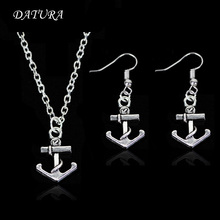 Fashion silver Plated cut Anchor Pendant Necklace Earring Jewelry Set for Women or men.(Color:Silver)