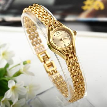 Kobiety bransoletka zegarek Mujer złoty Relojes mała tarcza kwarcowy luźny zegarek popularny zegarek godziny kobiece panie eleganckie zegarki tanie i dobre opinie QUARTZ 22cm ROUND Nie wodoodporne 10mm Szkło CYD CHAOYADA Moda casual 22mm 04101-04105 Hook buckle Brak STAINLESS STEEL