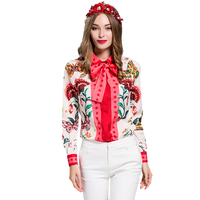 European American Women S 2017 Summer Long Sleeve Animal Flower Printed Plus Size XXXL Vintage Shirt