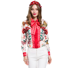 European American Women's 2017 Summer Long Sleeve Animal Flower Printed Plus Size XXXL Vintage Shirt Casual Blouse Tops