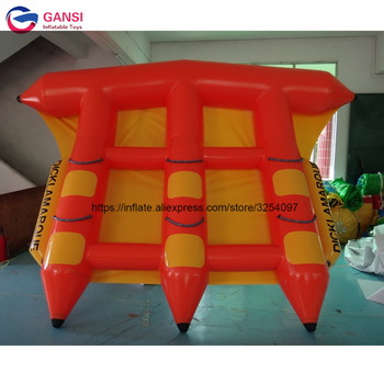 inflatable flying fish water sports equipment for 6 players flying fish towable inflatable flying banana boat tube Exciting water towable flyfish boat, 4*3m Adults popular inflatable flying fish with reasonable price