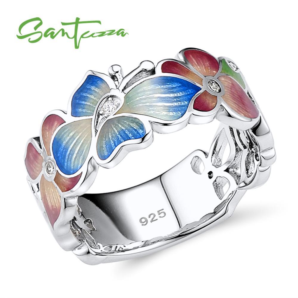 SANTUZZA Anillo de plata para mujer 925 plata esterlina Moda Flor Anillos para mujer Cubic Zirconia Ringen Party Jewelry Enamel