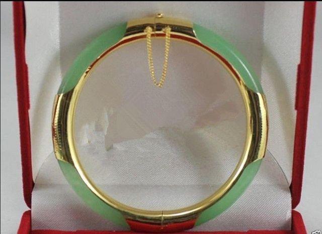 Beautiful Green Jade Bangle Bracelet AAA style Fine jewe Noble 100% Natural jade 5.26