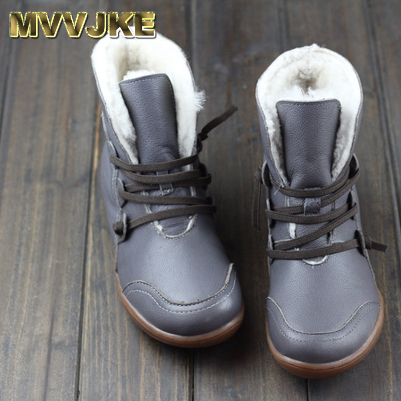 MVVJKE Women's Boots Winter Shoes Wool Genuine Leather Shoes Round toe Lace up Ladies Ankle Boots Female Footwear газонокосилка makita elm3311