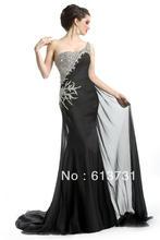 Chiffon Schwarz Prom Abendkleider Sexy Schmal Geschnitten Sweep Eine Schulter Mit Perlen und Pailletten