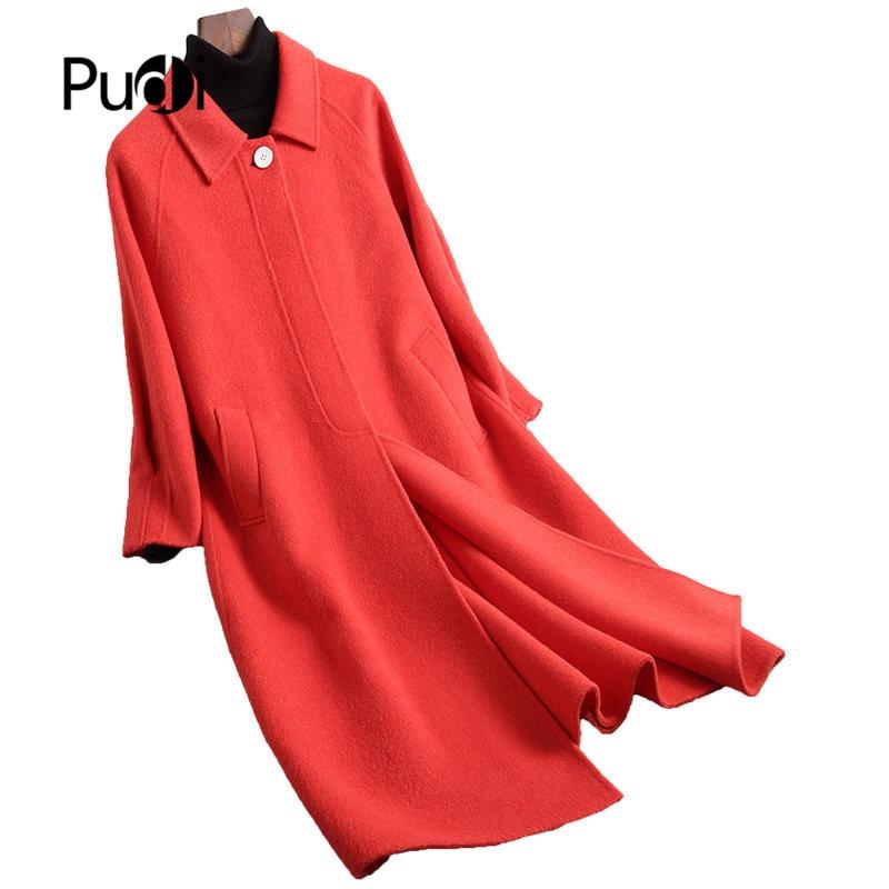 PUDI A38410 1 2019 Frauen neue mode rot farbe doppel wolle jacke dame stil freizeit Herbst/Winter wolle mantel-in Wolle & Mischungen aus Damenbekleidung bei  Gruppe 1