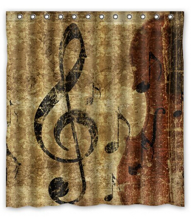 Custom Musical Note Waterproof Polyester Fabric Shower Curtain Bathroom  Home Decro Size 150x180cm Freed Shipping U002682