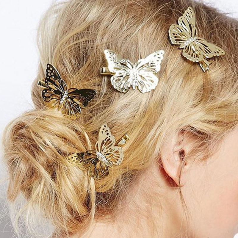 6Pcs Shining Metal Hair Clips Golden Butterflies Hairpins Grips Barrette Clamps For Wedding Hair Pins Girls Hair Accessories