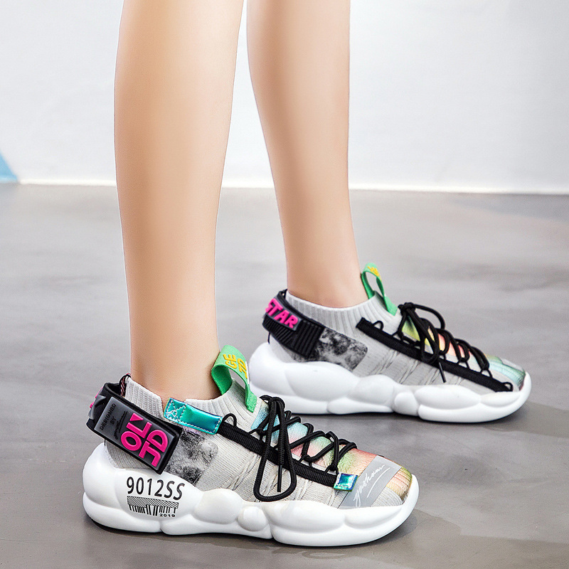 Fashion super fire old shoes women summer new reflective comfort thick bottom net red casual shoesFashion super fire old shoes women summer new reflective comfort thick bottom net red casual shoes