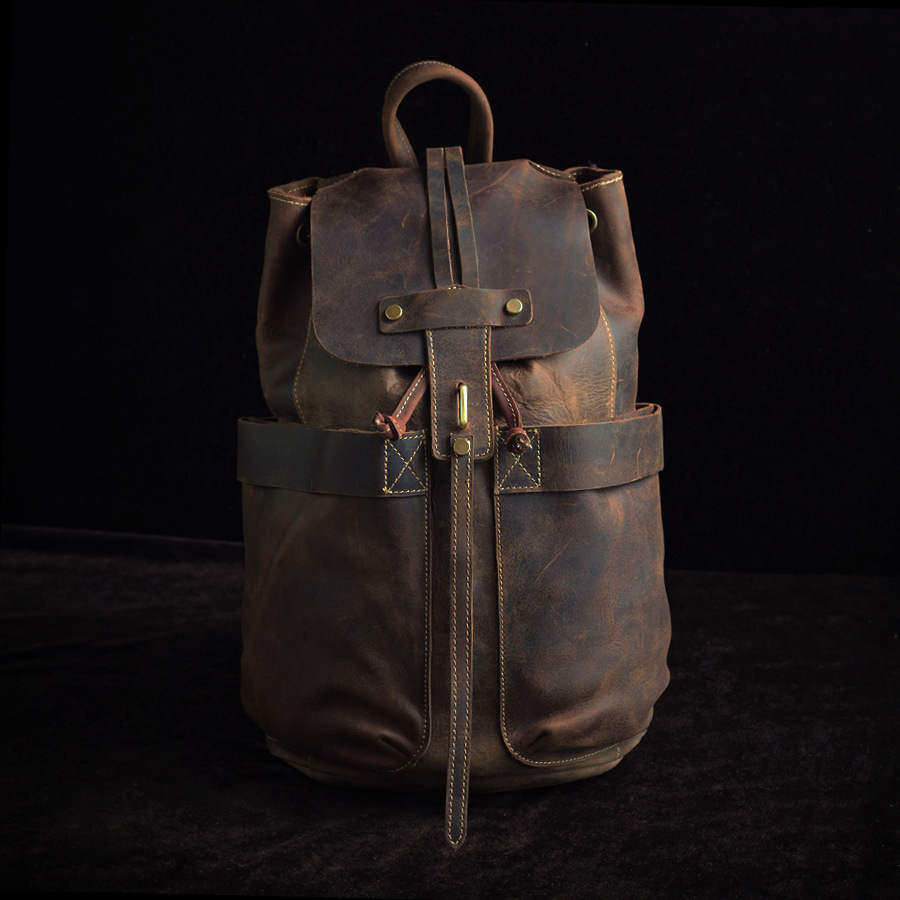 2017 Vintage Unisex all genuine leather backpack Cow leather men/women high-capacity bucket cover string opening knapsack