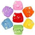 Hot 5 Unids Ajustable Bebé Pañal de Tela Reutilizables Pañales para Bebés Vendido 10 Trazadores de líneas de Cambio de Pañales pañales Lavables 7 Colores de La Mezcla insertos