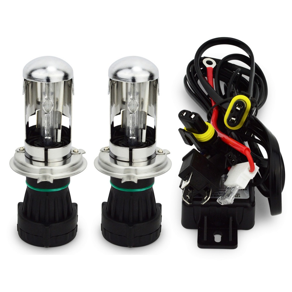 1 Pair AC 55W Bixenon Bulb Relay Harness H4 Hi/Lo Bi-xenon H4-3 HID Replacement Bulb Headlight H4 3000K 4300K 6000K 8000K