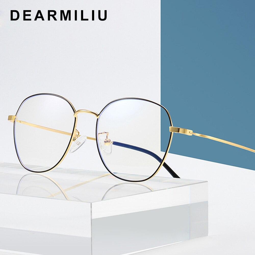 Dearmiliu Round Frame Rose Gold Anti Blue Light Blocking Glasses Led Reading Glasses Radiation-resistant Computer Gaming Eyewear