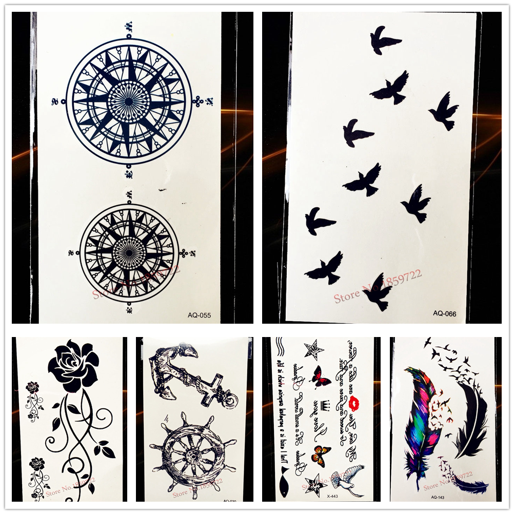 Compass Designs Fake Waterproof Tattoo Black Color 10.5x6CM Round Totem Star Tattoo Pentagram Women Men Body Art Tatoo Arm