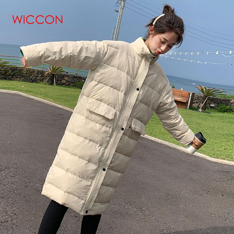 Women Long   Parkas   2019 New Fashion Lightweight Cotton Coat Zipper Botton Space Cotton Patchwork Thick Winter Warm Long Coat