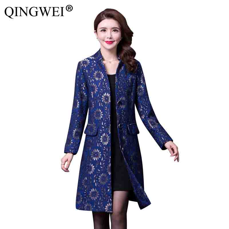 QINGWEI Plus size  Middle-aged mother Spring section Long section coat 2019 Women's fashion High-quality printing Trench coat