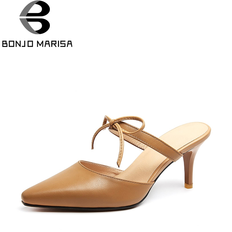 BONJOMARISA 2018 New Brand Genuine Leather Summer Mules Bow Concise Sexy Pumps Pointed Toe Big Size 33-43 High Heels Shoes Woman bonjomarisa 2018 summer brand sexy women mules print patent leather pumps crystal high heels party wedding shoes woman