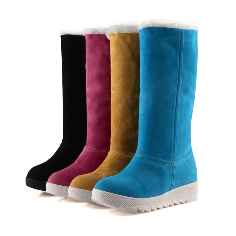 ФОТО 2017 Winter Boots Big Size 34-43 Women's Shoes Gladiator Winter Snow Boots Fashion High Long Low Heel Marti Ladieskeep Warm 583