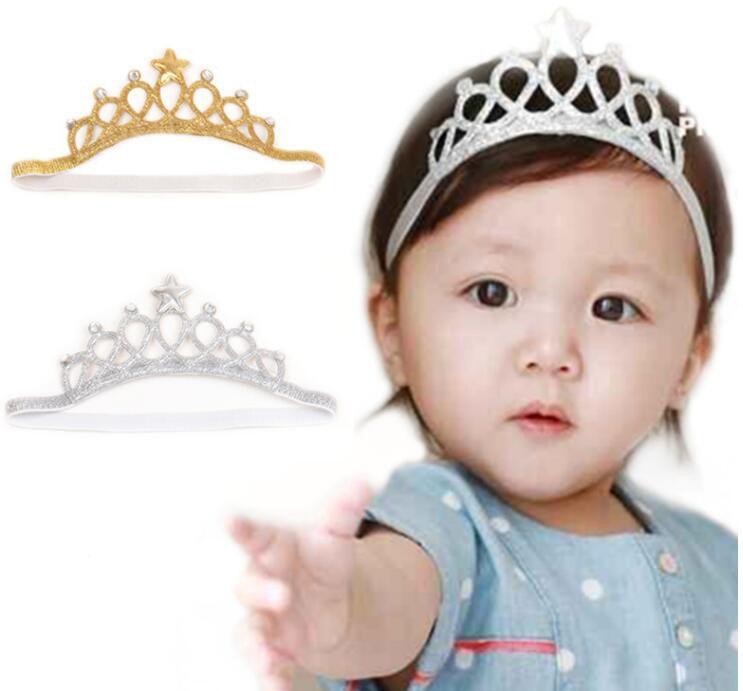 Crown Birthday party baby girl headband Infant hair accessories clothes band newborn Headwear tiara headwrap hairband Gift