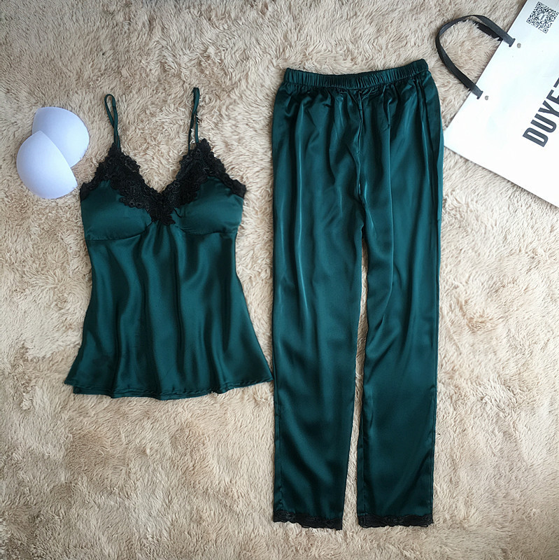Summer New Lace Spaghetti Strap Women   Pajamas   Nightdress+Long Pant Women Deep V Homewear   Set