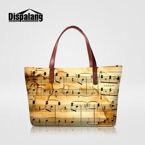 Dispalang music note printing ladies shoulder handbags novelty customized design totes for women girl personality top-handle bag