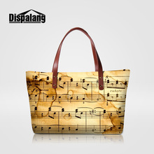 Dispalang music note printing ladies shoulder handbags novelty customized design  totes for women girl personality top eb1cb394ca9eb