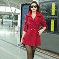 2015 Nova Chegada Mulheres Casaco de Inverno Estilo Europeu Cor Sólida Fino Casaco de Lã de Lã Marca Casaco Quente Outwear Alta Qualidade