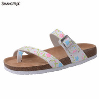 Hot Summer Beach Cork Women Slippers Sandals Casual Shoes Double Printing Buckle Clogs Women Slip On