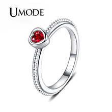 UMODE 2019 New Rose Red Zircon CZ Crystal Heart Rings for Women Fashion White Gold Beads Jewelry Anillos Mujer AUR0507