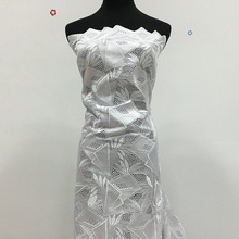 High Quality African Swiss Cotton Voile Lace, White, 5yards 027, 100% African Cotton Embroidery Fabric Wedding