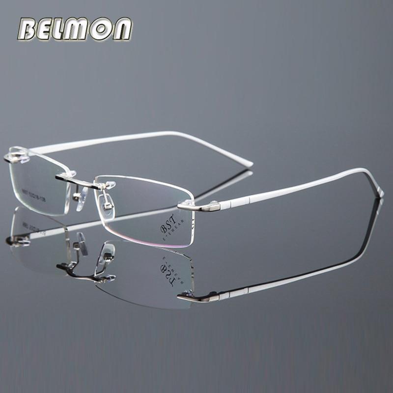 05c626b2af Belmon Spectacle Frame Men Rimless Eyeglasses Computer Prescription Optical  For Male Eyewear Clear Lens Glasses Frame