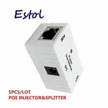 Connecteur RJ45, 5 pièces/lot, adaptateur alimentation par injecteur POE, pour caméra IP, interrupteur dalimentation pour téléphone IP, blanc