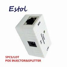 Toda a venda em massa venda branco 5 pçs/lote conector rj45 poe injector power over ethernet adaptador câmera ip, ip telefone interruptor de alimentação