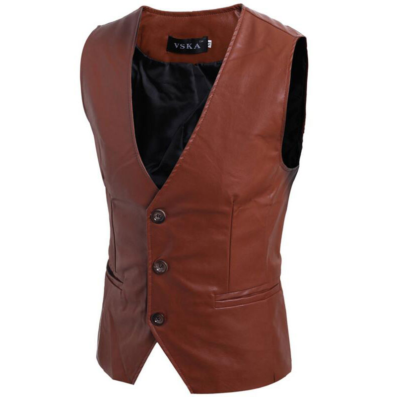 2020 Spring Autumn Outfit New Concise Joker Men's Leather Vest Fashion Casual Slim Fit Leather Tank Top Chaleco Hombre Coat