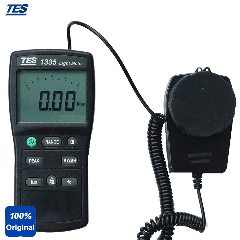 Digital Light Tester Illuminance Meter Measuring Levels Ranging 0 to 400,000 Lux, 0 to 40, 000 fc. TES-1335 100% original ar823 digital lux meter light tester 1 200 000lux