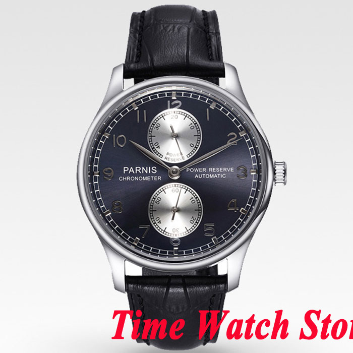 Luxury Parnis 43mm men's watch Black dial Power reserve ST2542 Automatic movement wrist watch men 933 43mm parnis black dial power reserve automatic watch p001