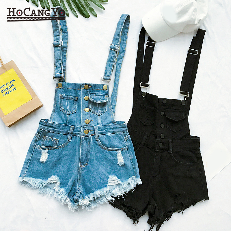 HCYO Short Rompers Womens Jumpsuit Denim Overalls for Women Rompers Plus Size Hole Playsuits and Jumpsuits for Girls Overalls