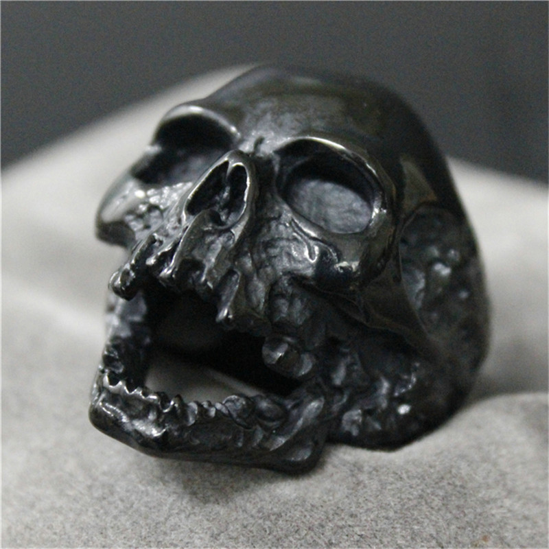 1pc Black Silver Huge Skull Ring 316L Stainless Steel Punk Style Newest Design Men Boys Skull Ring gj303 rhinestones 316l stainless steel couple s ring black silver size 9 7 2 pcs