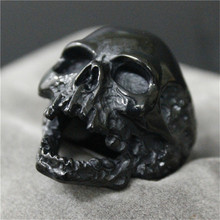 1pc Black Silver Huge Skull Ring 316L Stainless Steel Punk Style Newest Design Men Boys Skull Ring(China)