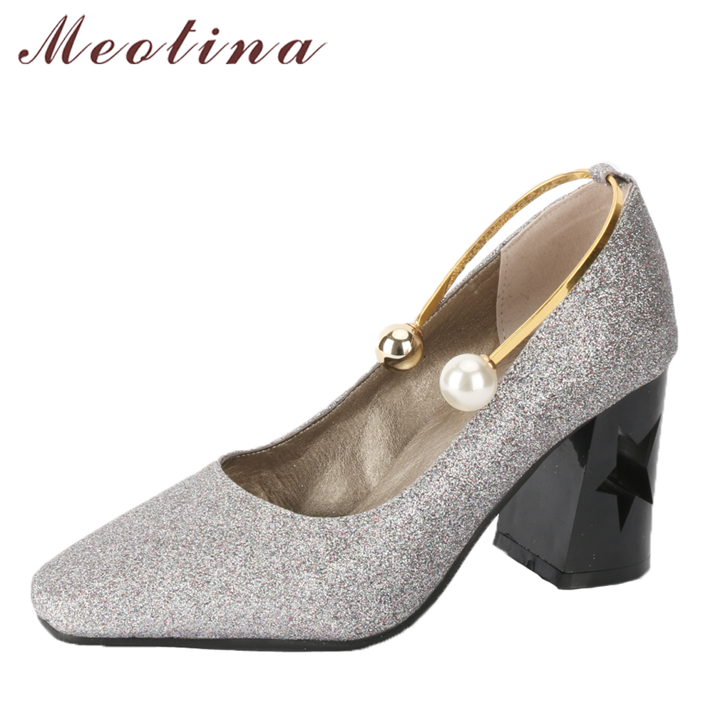 Meotina Women High Heels Square Toe Shoes Pearl Slip On Thick Heels Ladies Pumps Silver Bling 2018 Spring Shoes Plus Size 33-46 hot sale 2017 korean new fashion spring women flats shoes ladies bow square toe slip on flat women s shoes plus size 35 42