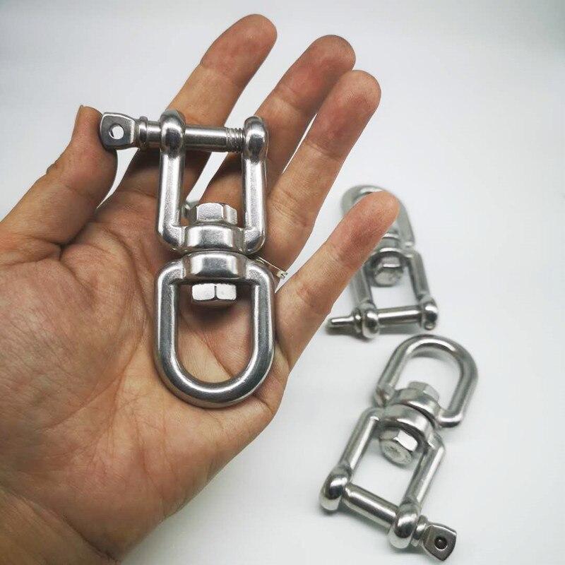 4pcs M8  304 Stainless Steel Jaw--Eye Swivel Hook Shackle