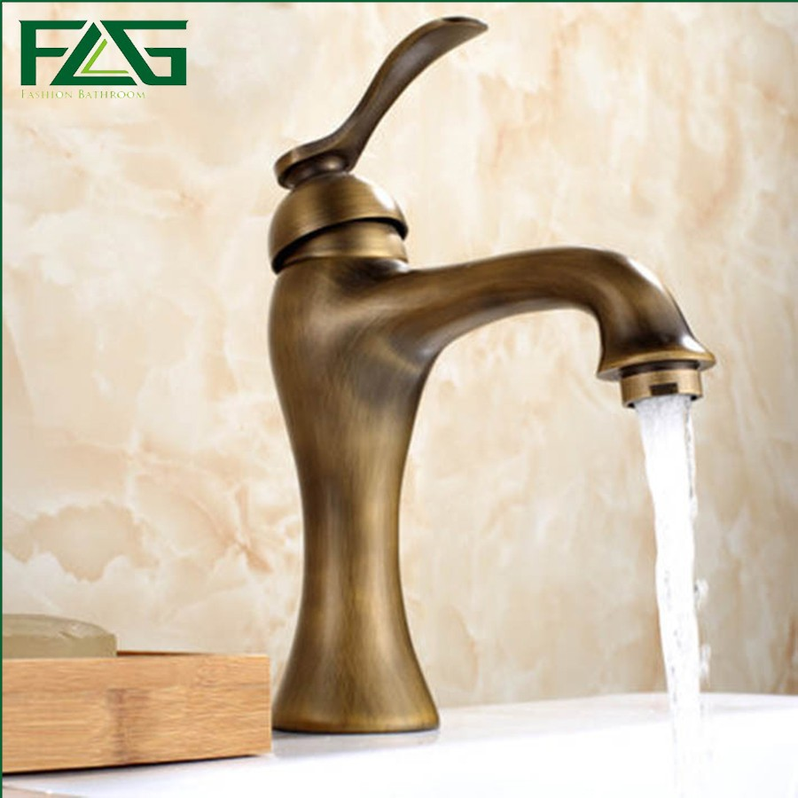 FLG Beautiful Design Basin Faucet Deck Mounted Antique Brass Sink Faucet Cold&Hot Torneiras Water Tap Bathroom Basin Mixer M165 flg bathroom faucet antique brass all copper double handle 360 degree rotating deck mounted cold hot sink mixer water tap 10703