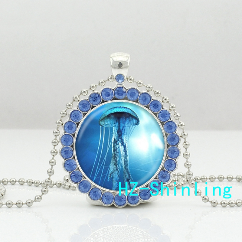 Новый Медузы Цепочки и ожерелья морских организмов кристалл кулон Sea Life серебряные украшения кристалл кулон Цепочки и ожерелья hz6
