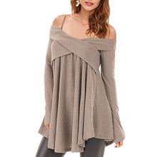 179cd713519ffb ZAFUL zimno ramię krzyżowe tunika sweter dorywczo stałe Spaghetti pasek z  długim rękawem Pullover bluzy damskie topy Pull Femme